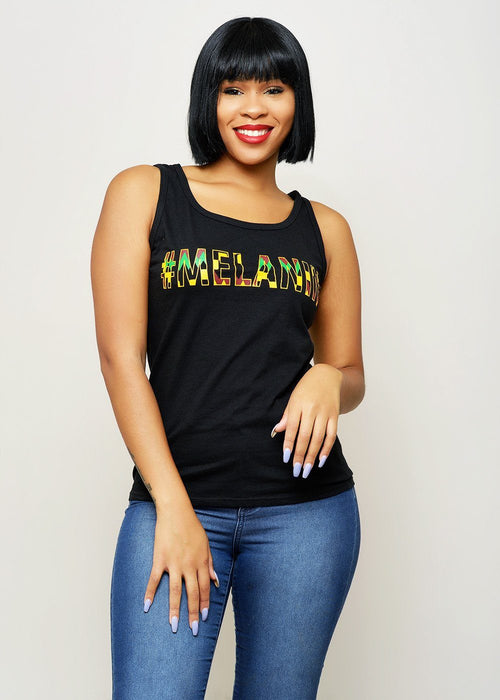 Asha Women's Melanin African Print Tank Top (Yellow/Black Kente) -Clearance