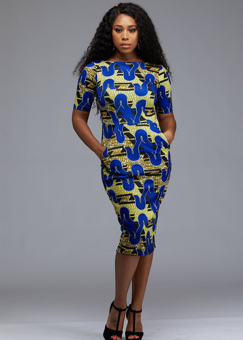 Meria African Print Midi Pencil Dress with Stretch (Blue/Yellow/Black) -Clearance