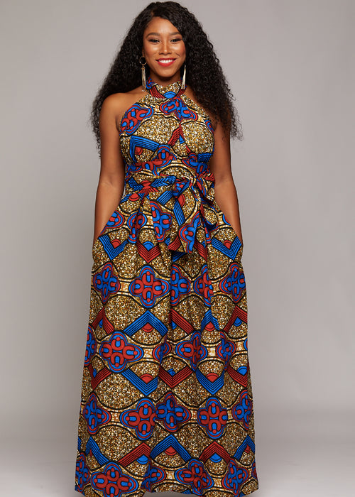 Ronke African Print Halter Maxi Dress (Red/Blue/Tan)