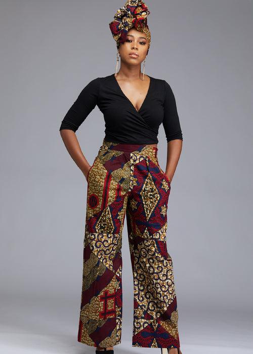 Sabah African Print High Waist Wide Leg Pants (Maroon/Multipattern)