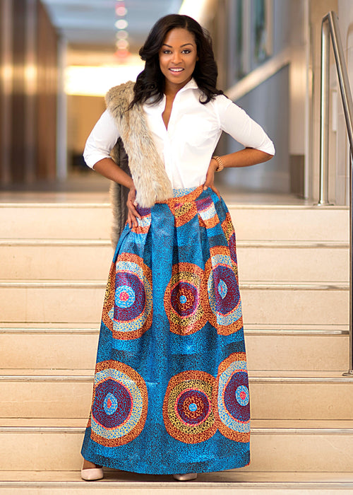 Lulu Pleated Satin Maxi Skirt (Teal/Gold Circles)- Clearance
