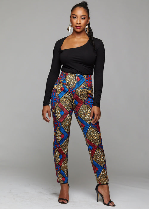 Bala African Print High-waisted Pintucked Pants with Stretch (Red/Blue/Tan)