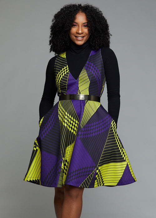 Nailah African Print Fit and Flare Dress with Stretch (Yellow/Purple Geometric)