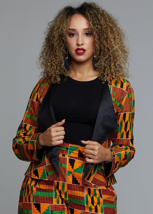 Semira African Print Blazer (Red/Green/Yellow Kente)