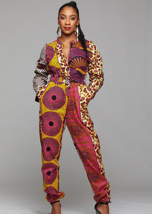 Eniola African Print Button-Up Jumpsuit (Pink/Yellow Patchwork)