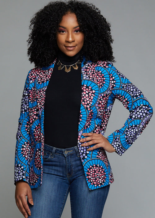 Uche African Print Shawl Collar Long Blazer (Blue Multicolored Circles)