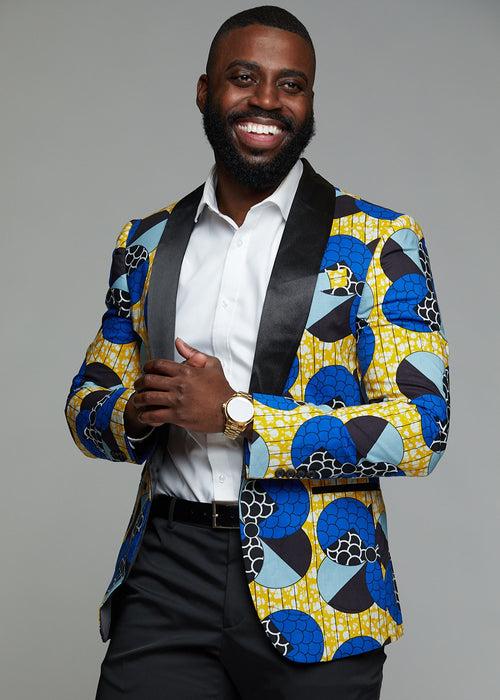 Rammy Men's African Print Blazer (Blue Bubbles on Yellow)