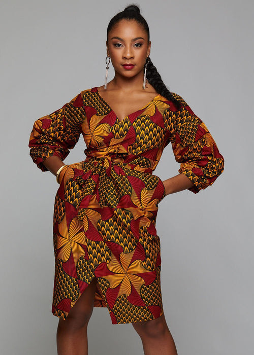 Bisi African Print Pleated Sleeve Wrap Dress (Magenta/Yellow Pinwheels)