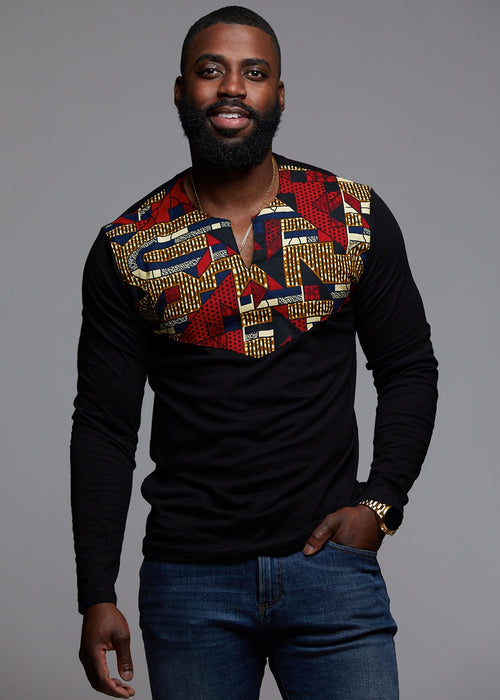 Lanre Men's African Print Long Sleeve Shirt (Black/Red Navy Stripe)