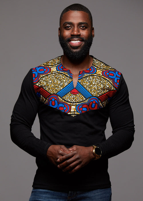 Lanre Men's African Print Long Sleeve Shirt (Black/Red Blue Tan)