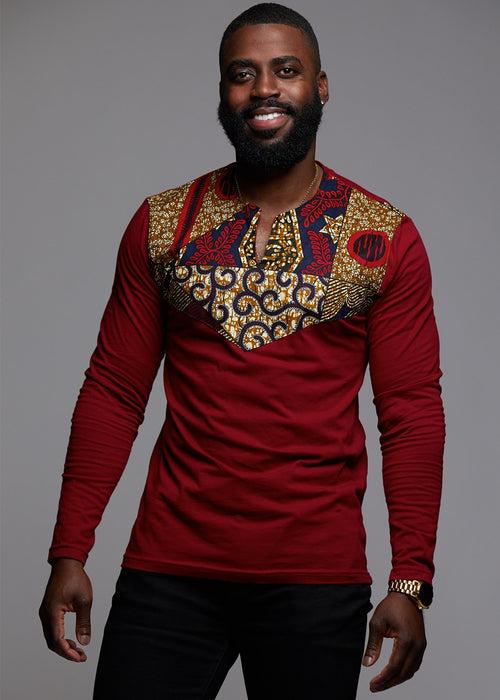 Lanre Men's African Print Long Sleeve Shirt (Maroon/ Maroon Multipattern)