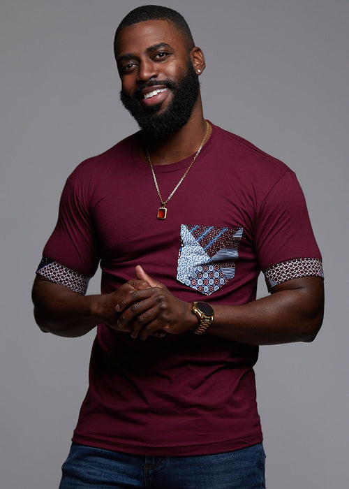 Seun Men's African Print T-Shirt with Pocket (Maroon/Blue Crown)
