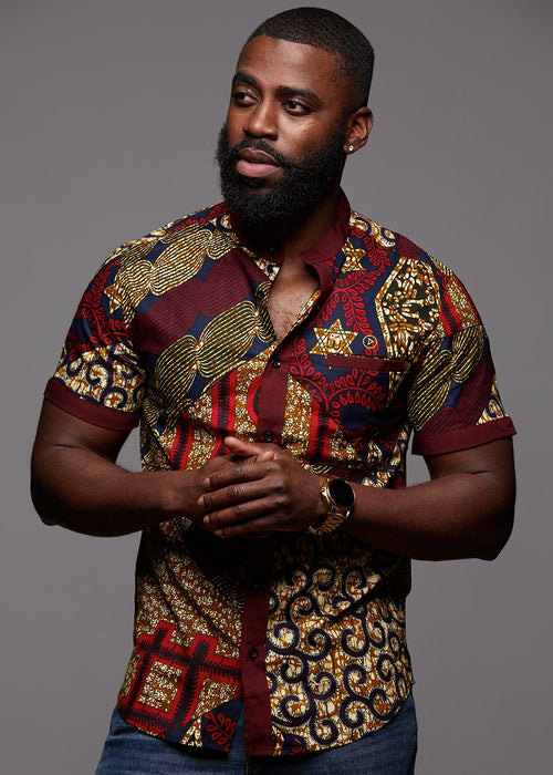 Olu Short Sleeve Mandarin Button-Up African Print Shirt (Maroon Multipattern)