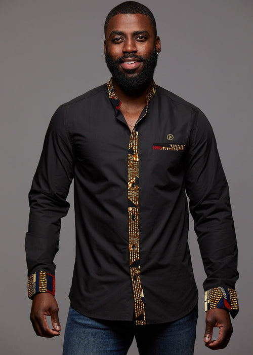 Bello Men's African Print Long Sleeve Mandarin Shirt (Black/Red Navy Stripe)
