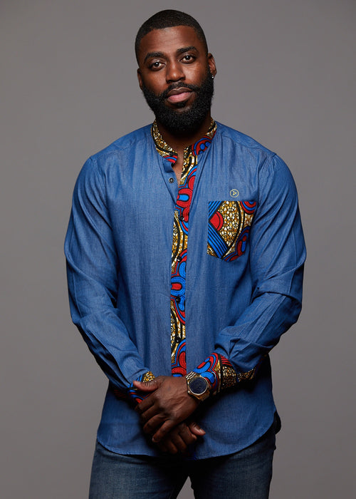 Kano Men's African Print Long Sleeve Denim Mandarin Shirt (Red Blue Tan)