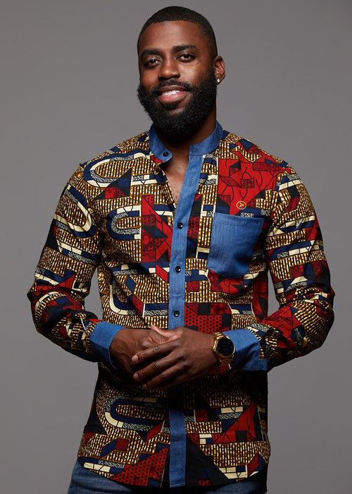 Kano Button-Up Africa Print Long Sleeve Denim Mandarin Shirt (Red Navy Stripe)