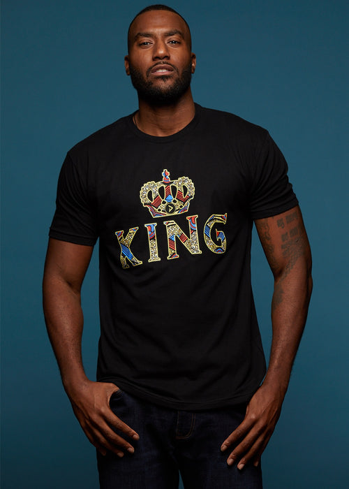 Ohene Men's King African Print T-Shirt (Black)