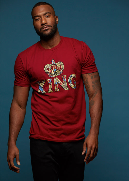 Ohene Men's King African Print T-Shirt (Maroon)