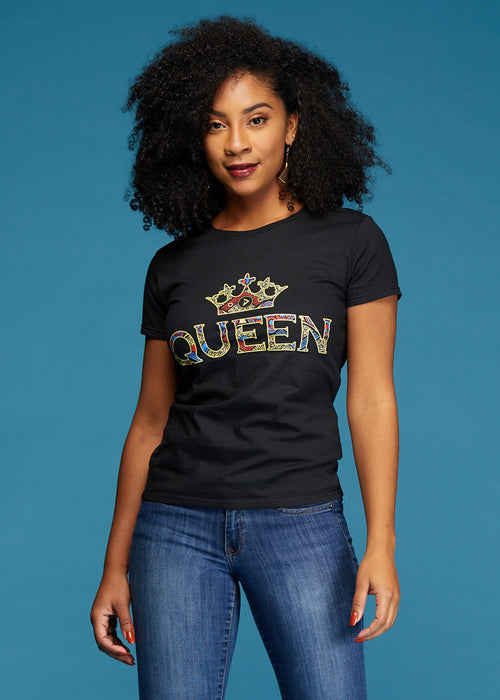 Ohema Women's Queen African Print Graphic T-Shirt (Black)