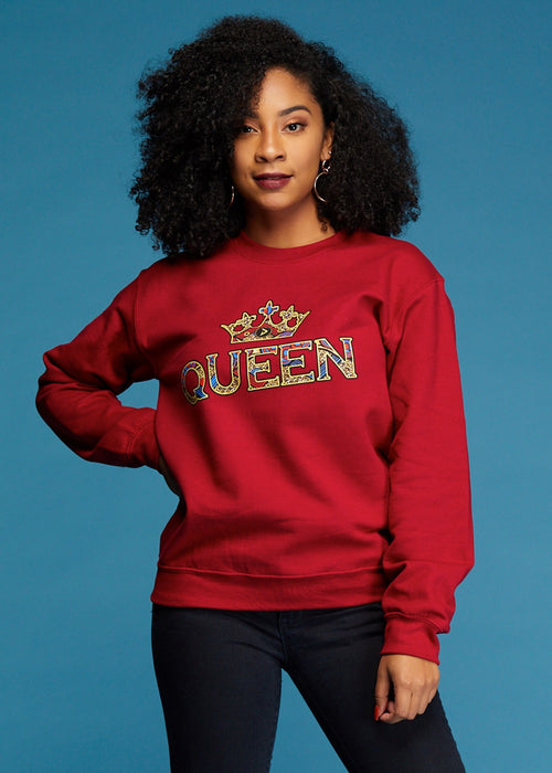 Kayin Women's Queen African Print Graphic Sweatshirt (Maroon)- Clearance