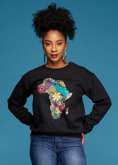 Akia Women's Africa Sweatshirt (Black)- Clearance