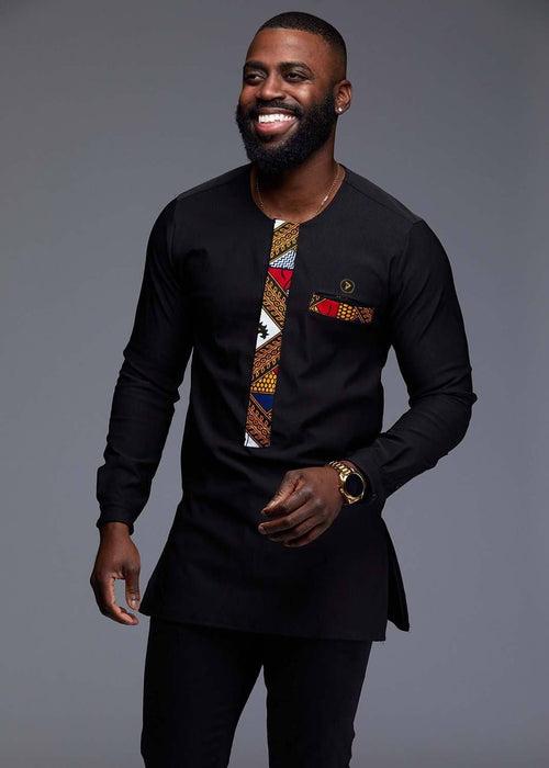 Bakari Men's African Print Long Sleeve Trad Shirt (Gold/White Diamonds)