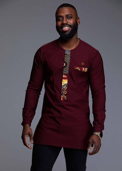 Bakari Men's African Print Long Sleeve Trad Shirt (Yellow/Blue Multipattern)