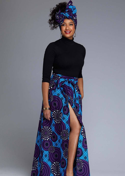 Cyrah African Print Maxi Skirt with Sash (Blue Purple Swirls)