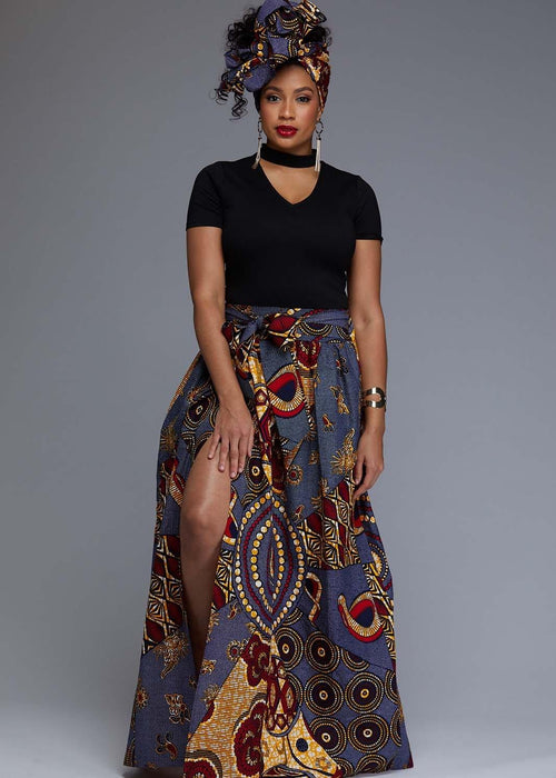 Cyrah African Print Maxi Skirt with Sash (Yellow/Blue Multipattern)
