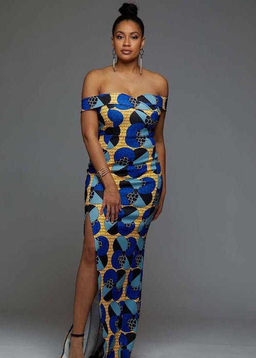 Nala Off Shoulder African Print Formal Gown (Blue Bubbles on Yellow)