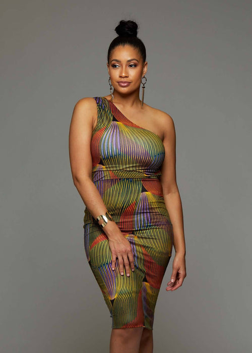 Oni African Print One Shoulder Dress (Yellow Multicolored Waves)