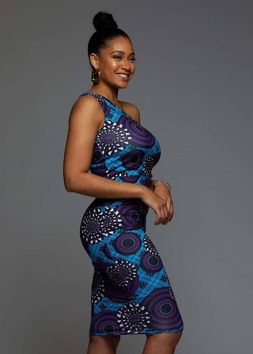 Oni African Print One Shoulder Dress (Blue Purple Swirls)
