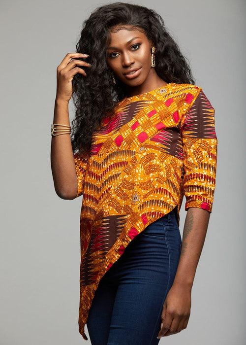 Zulu African Print Asymmetric Tunic (Yellow Pink Patchwork)