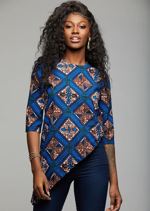 Zulu African Print Asymmetric Tunic (Blue Tan Diamonds)