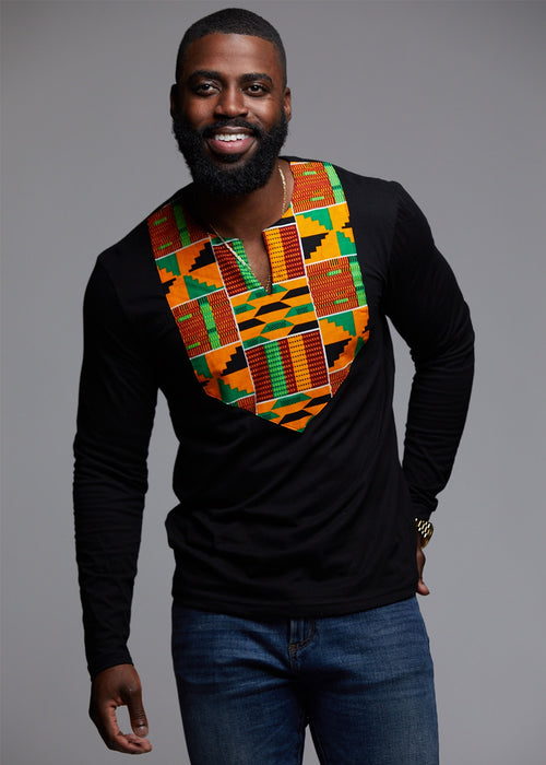 Omari Men's African Print Long Sleeve Shirt (Yellow Green Kente)