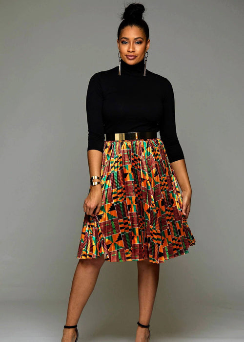Funmi Chic Pleated African Print Satin Midi Skirt (Yellow Green Kente)
