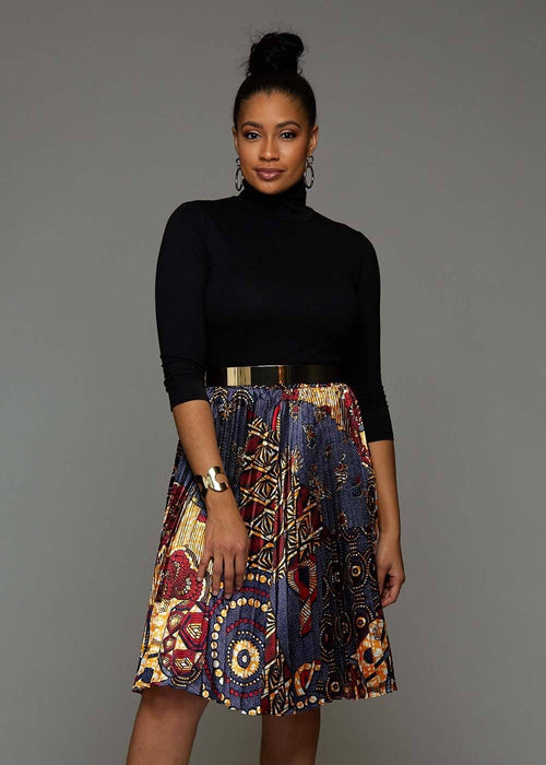 Funmi Chic Pleated African Print Satin Skirt (Yellow Blue Multipattern)