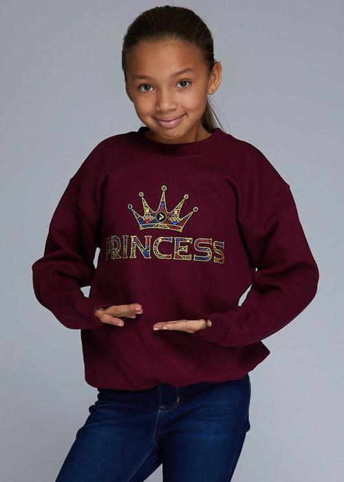"Little Kayin Girl's African Print ""Princess"" Graphic Sweatshirt (Maroon)- Clearance"