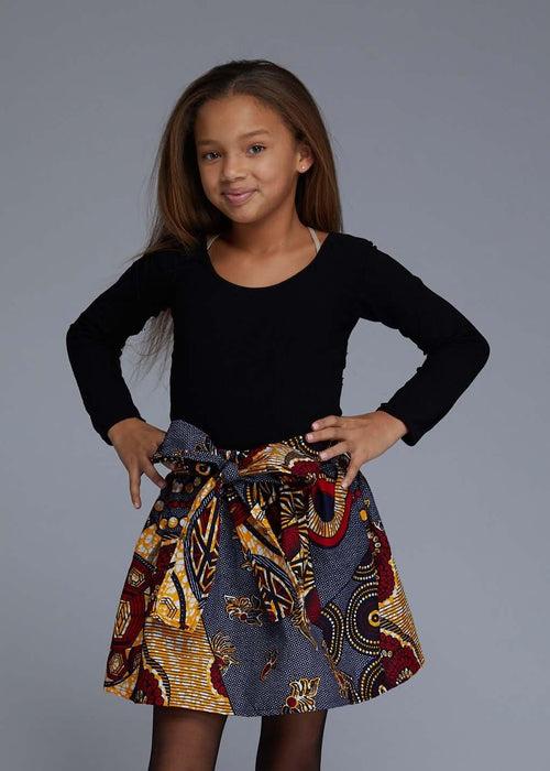 2348c14f79e Abina African Print Full Skirt for Little Girls (Yellow Blue Multipattern)