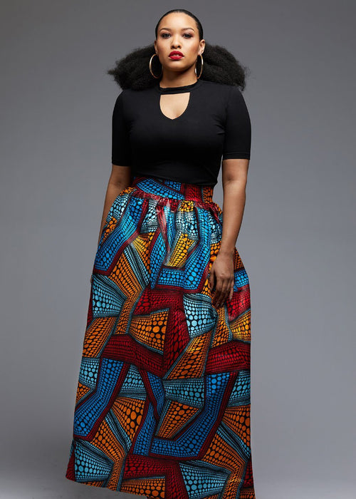 Uma Chic African Print Maxi Skirt (Red/Orange/Blue)- Clearance