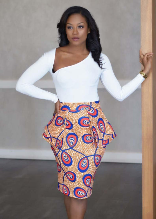 Toyin Stretch African Print Peplum Pencil Skirt (Brown/Blue Feathers)- Clearance