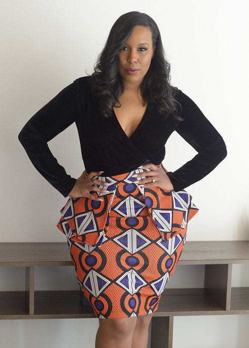 Toyin Stretch African Print Peplum Pencil Skirt (Orange Purple)- Clearance