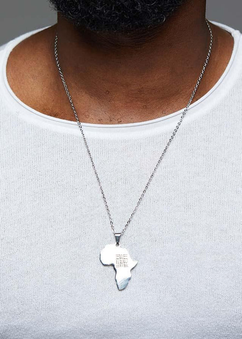 Adinkra Africa Map Silver Necklace- Knowledge Symbol