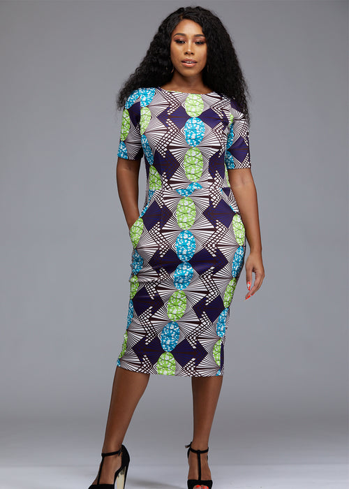 Meria African Print Midi Pencil Dress with Stretch (White/Lime Green Gem) -Clearance