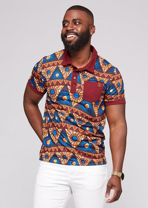 Tunde Men's African Print French Terry Polo (Blue Pyramids)