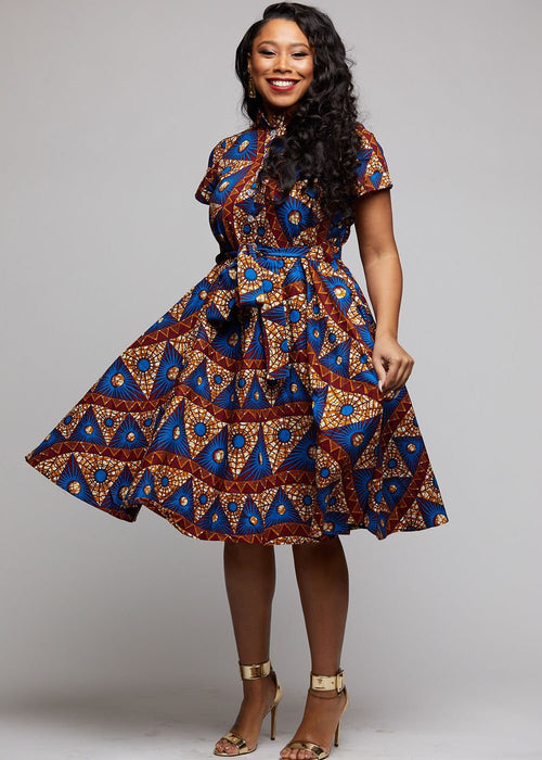 Ebele African Print Mandarin Collar Shirt Dress (Blue Pyramids)