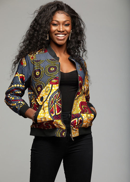 Remi Women's African Print Bomber Jacket (Yellow Blue Multipattern)