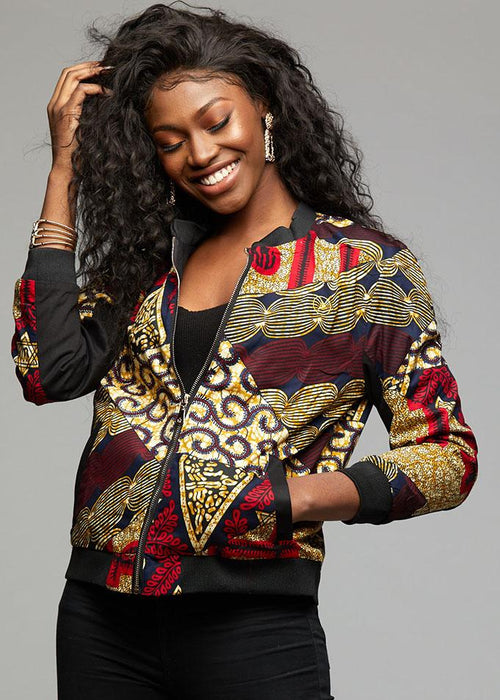 Remi Women's African Print Bomber Jacket (Maroon Multipattern)