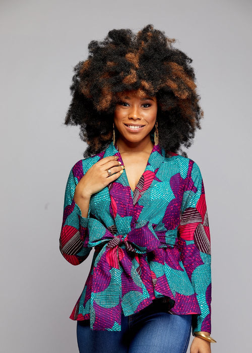 Diola African Print Peplum Blazer (Purple/Aqua)