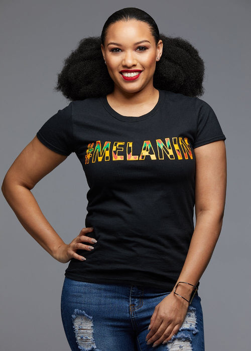 Amma Women's Melanin African Print T-Shirt (Yellow/Black Kente)